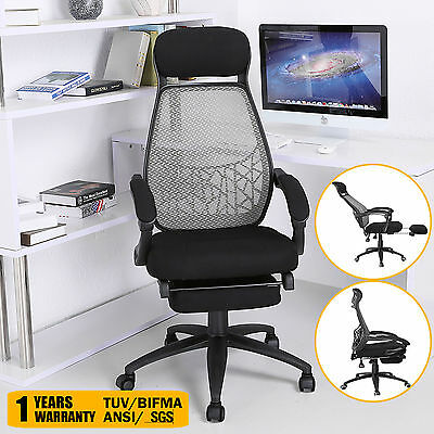 Executive Reclining Office Chair Fabric Relax Mesh High Back Computer Footrest