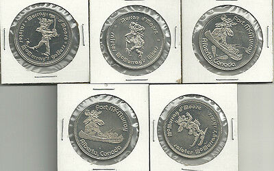 5 Different Fort McMurray,  Alberta, Canada Moose Trade Dollars 1978-1981