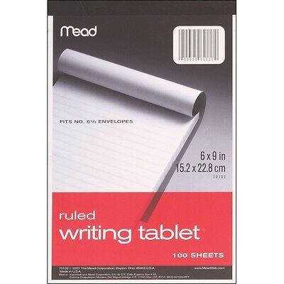 "Mead 70102 Ruled Writing Tablet 6""X9""-100 Sheets NEW"