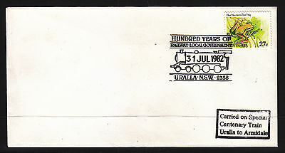 Souvenir Cover: Hundred Years Of Railway  Local Government  Uralla Nsw 1982