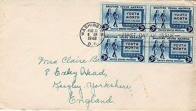 1948 Usa Saluting Young America Block Of 4 Fdc From Collection I15