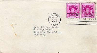 1948 Usa Joe Chandler Harris Pair Fdc From Collection I17