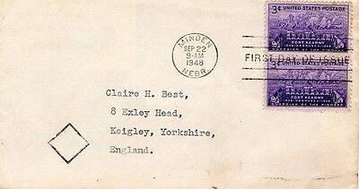 1948 Usa Fort Kearny Pair Fdc From Collection I18