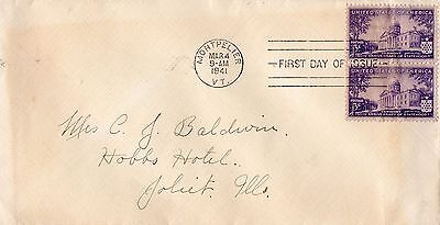 1941 VERMONT 150th ANNIVERSARY OF STATEHOOD PAIR FDC FROM COLLECTION I20