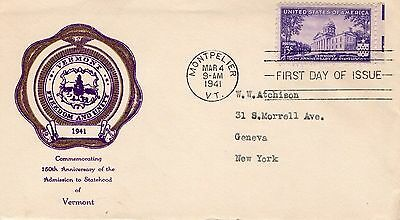 1941 VERMONT 150th ANNIVERSARY OF STATEHOOD SEAL FDC FROM COLLECTION I21