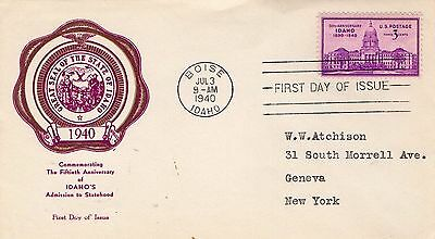 1940 50th ANNIVERSARY OF IDAHO'S STATEHOOD SEAL FDC FROM COLLECTION I22
