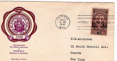 1940 50th ANNIVERSARY OF WYOMING'S STATEHOOD SEAL FDC FROM COLLECTION I23