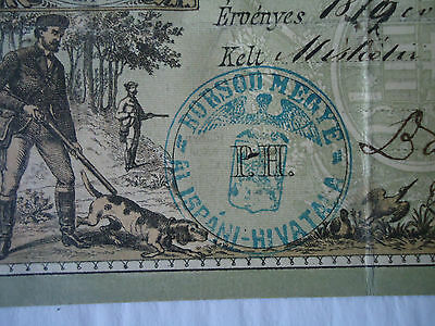 Original Old Antique Hungarian ( Austro-Hungarian Empire )hunting license