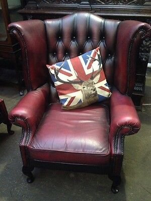 Vintage Chesterfield Armchair Queen Anne High Back Fireside Wing  Leather