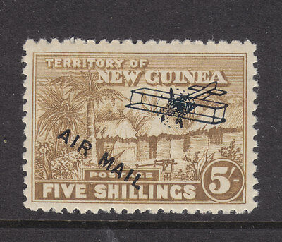 New Guinea: 1931 Air Mail Ov/pr Huts  5/ Brown  Mh And Scarce!!!