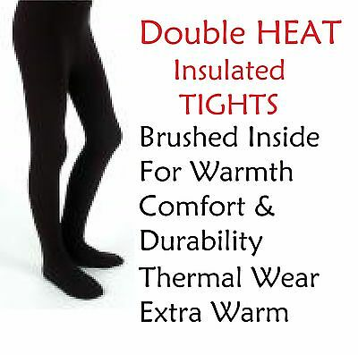 New Children's Winter Thick Thermal Black Tights Girls Kids Sizes 3-10 Years