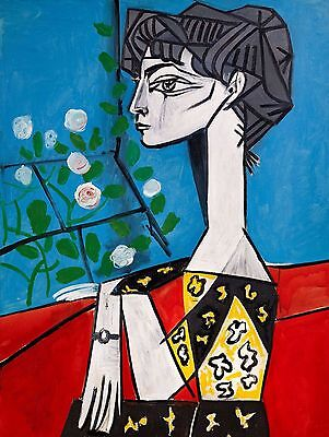 """Jacqueline With Flowers by Pablo Picasso. Art Reproduction 22""""x 28"""" PRINT-CANVAS"""