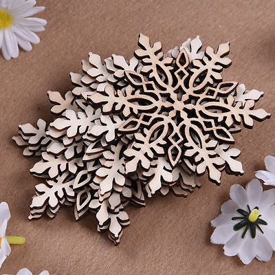 10 PCS Wooden Hollow Snowflake Christmas Home Decorations Hanging Pendants