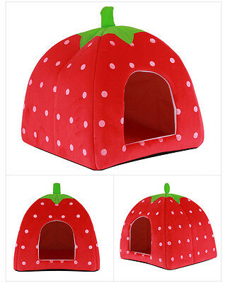 Fashion Soft Strawberry Dog Cat Pet Tent Bed House Kennel Doggy Cushion Basket