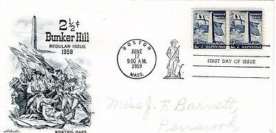 USA 1959 2½c BUNKER HILL ARTMASTER FDC FROM COLLECTION O12