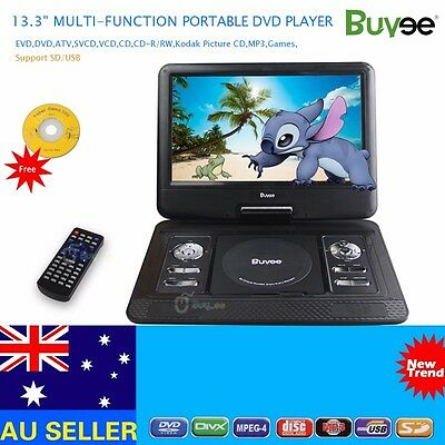 "13.3"" Portable Rechargeable DVD Player Swivel Screen 300 Games SD USB FM, In Car"