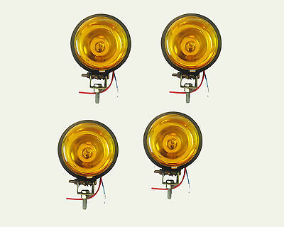 4 PCS OF 3.5inches JEEP CAR BIKE SCOOTER SPOT LIGHT YELLOW LENS & HALOGEN BULB