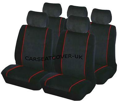 Citroen AX - Luxury BLACK & RED Trim Car Seat Covers Protectors - Full Set