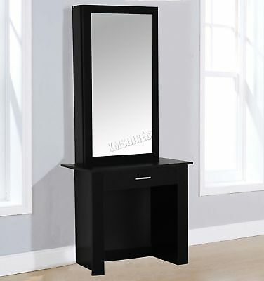 FoxHunter Wooden Makeup Jewelry Dressing Table With Sliding Mirror DT04 Black