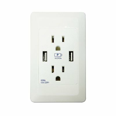 3 Outlet Socket Adapter Wall Mount Surge Protector 2Port USB Wall Charger 2.1A P