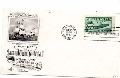 Usa 1957 Jamestown Festival Naval Review Art Craft Fdc From Collection O13
