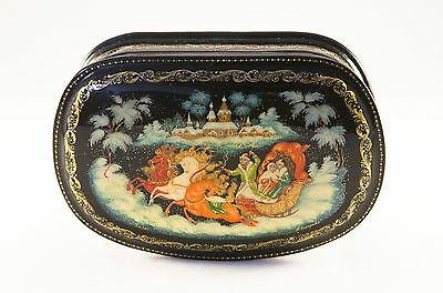 Genuine Russian Palekh miniature box, signed by artist, handmade - NOT A PRINT