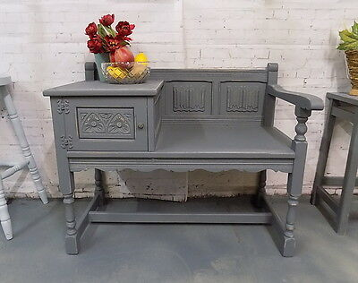 Painted Grey Shabby Chic  Telephone Hall Table Bench Seat
