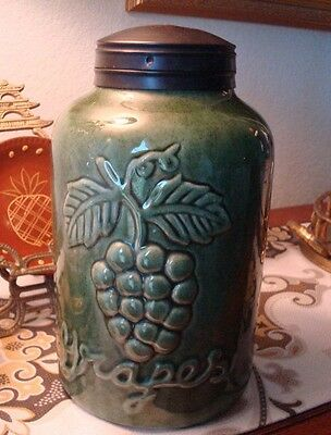 Large Ceramic Grapes Canister Jar - Hinged Metal Lid Container - Gorham, Maine