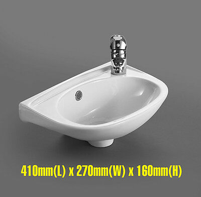 Wall Mounted Cloakroom Bathroom White Ceramic Wash Basin Sink Washing Bowl