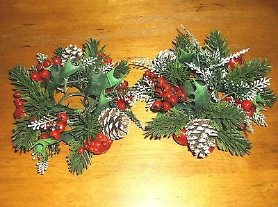 Vintage Plastic Holly Berry Wreath Candle Rings Centerpiece Pine Cone Satin Bulb