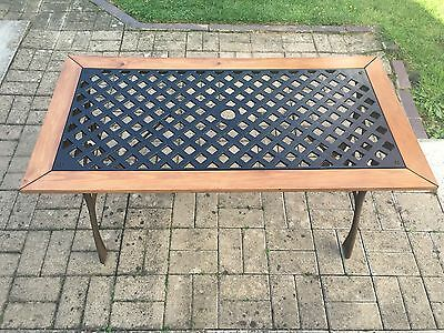 Vintage Cast Iron Garden Table Furniture, Recently Refurbished. New Wooden Frame