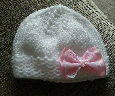 Hand knitted. Premature Baby Hat,White with pink bow. NEW