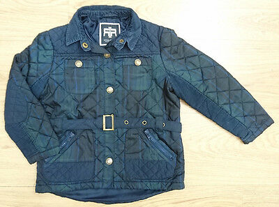 RIVER ISLAND girls coat jacket age 4-5 years navy check quilted