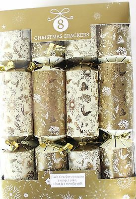 Luxury High Quality 8 Christmas Crackers Holly Cream Gold Table Decoration Decor