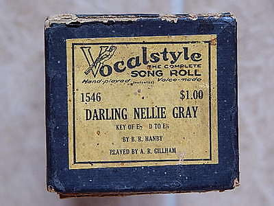 """VTG VOCALSTYLE Piano SONG ROLL #1546 """"DARLING NELLIE GRAY"""" pb A R GILLHAM"""