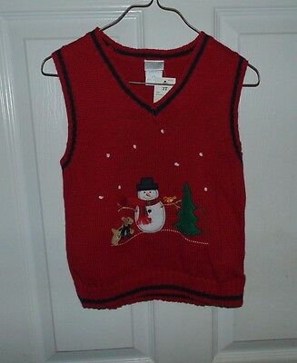 New Perfectly dressed Baby   boy sweater vest size 3T red snowman