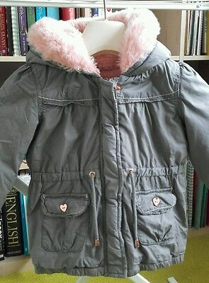 Girls winter coat anorak grey pink age 2-3 matalan hardly used