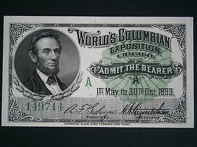 1893 Columbian Exposition Admission Ticket Lincoln World Fair Chicago