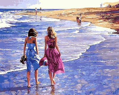 Framed Painting by Number kit Walking Along The Beach Sea Friends Ladies BB7643