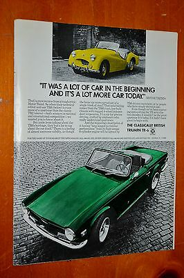 Hand Colored 1973 Triumph Tr6 & Tr2 Unique Ad British Classics Retro Vintage