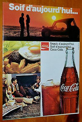 French 1973 Coca Cola Soda Ad With Dune Buggy Freinds Breakfast / Vintage Coke