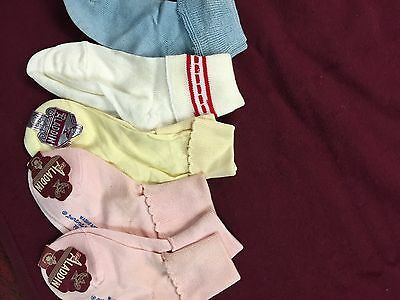 Lot Of 5 Vintage Antique Aladdin Baby Socks Pink Blue Yellow White