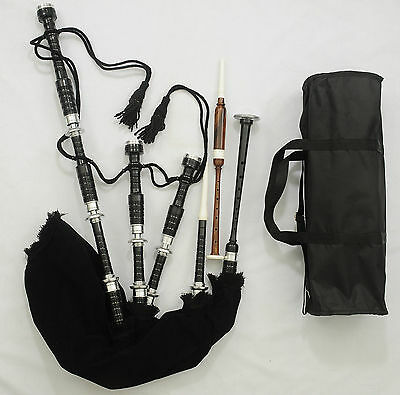 Solid Black Scottish Highland Bagpipe Fitted With Whole Silver Polished Mounts