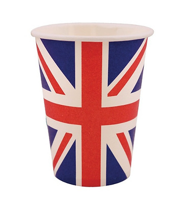 30 x Union Jack Party And Barbecue  Paper Cups 250ml Approx