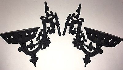 Antique Vintage Cast Iron Oil Lamp Candle Wall Mount Hangers Brackets Set Of Two