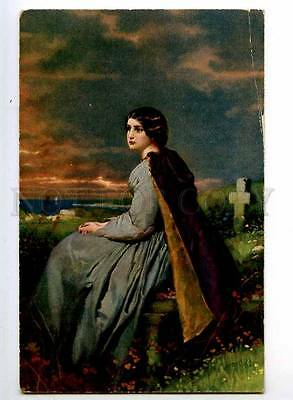 240274 MOURNING Young BELLE Lady near Grave by FAED Vintage PC