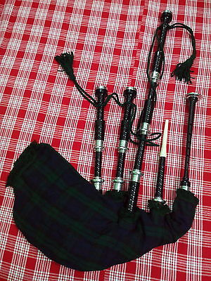 Scottish Great Highland Black Bagpipe Fitted With Silver Polished Mounts