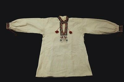 Antique Ukrainian Embroidery mens Flax Shirt with an abbreviation Saint George
