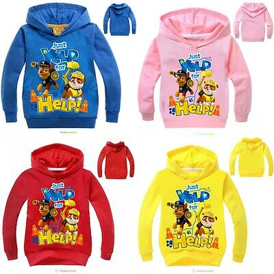 Baby Kids Girls Boys Casual Hoodies PAW PATROL Long Sleeve Cartoon Clothes 2-9Y