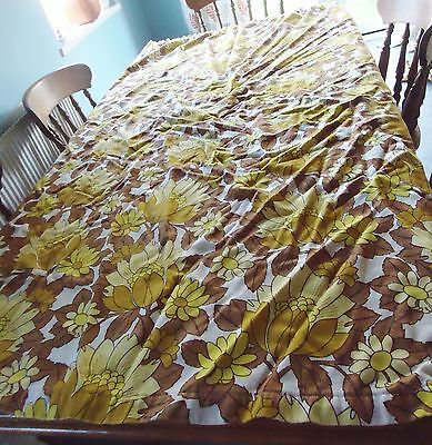 "VINTAGE 1970s FURNISHING FABRIC / DOOR CURTAIN YELLOW BROWN 1 Length 42"" x 72"""
